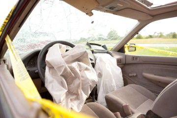 an exploded air-bag after an auto accident