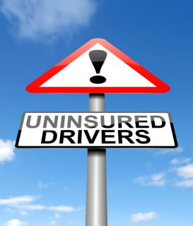 uninsured drivers caution sign