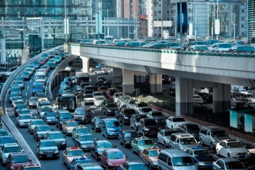 heavy traffic on a busy highway interchange