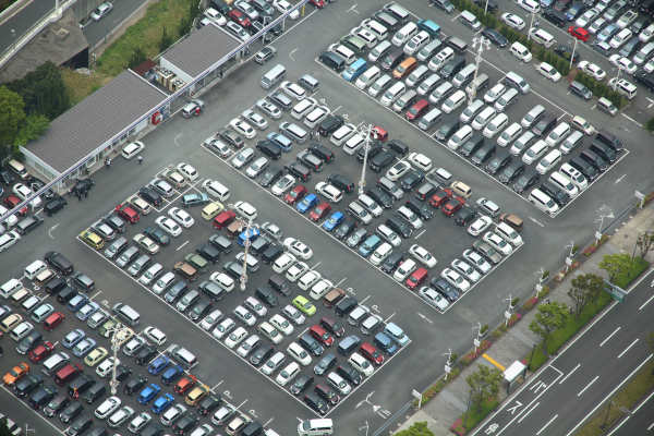 Aerial view of large parking lot